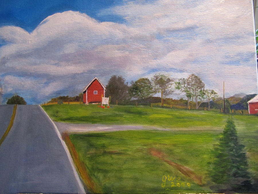Barn Painting - Little Red Barn On Detrick Rd by Gloria Condon