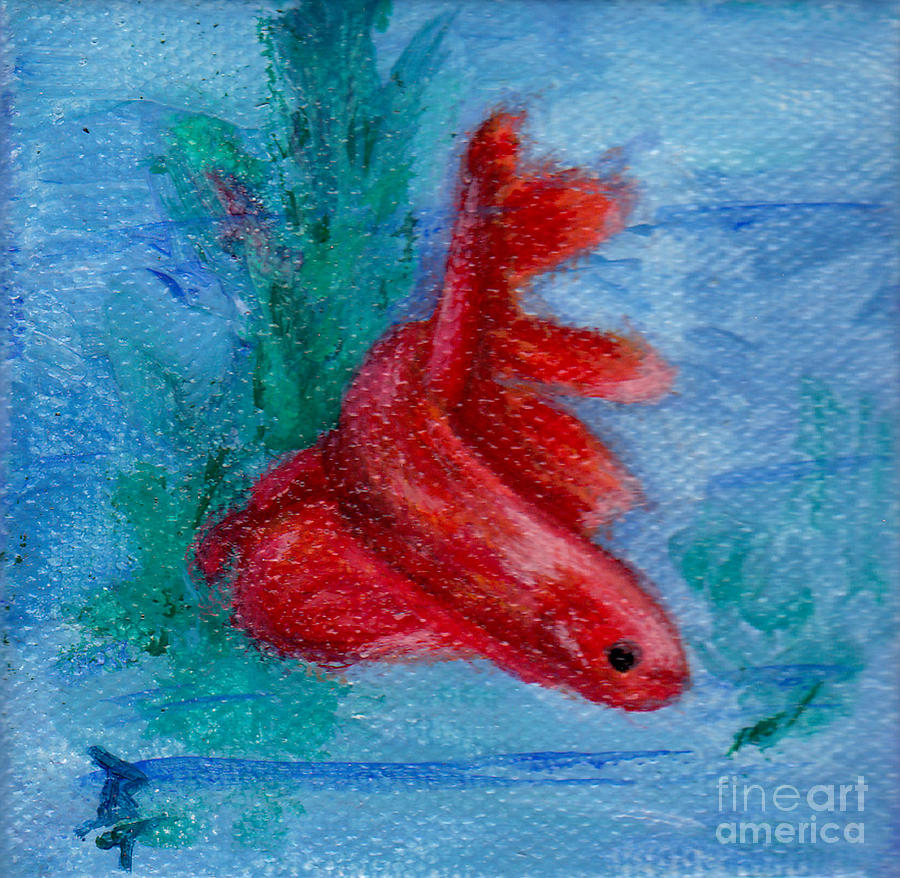 Little Red Betta Fish Painting by Brenda Thour