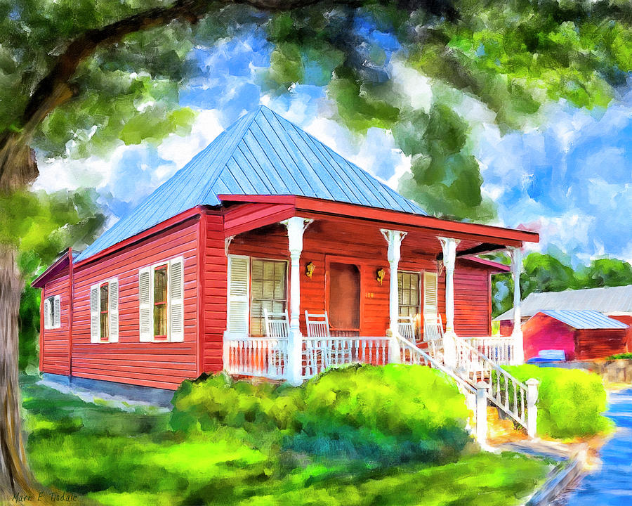 Little Mixed Media - Little Red Cottage by Mark Tisdale