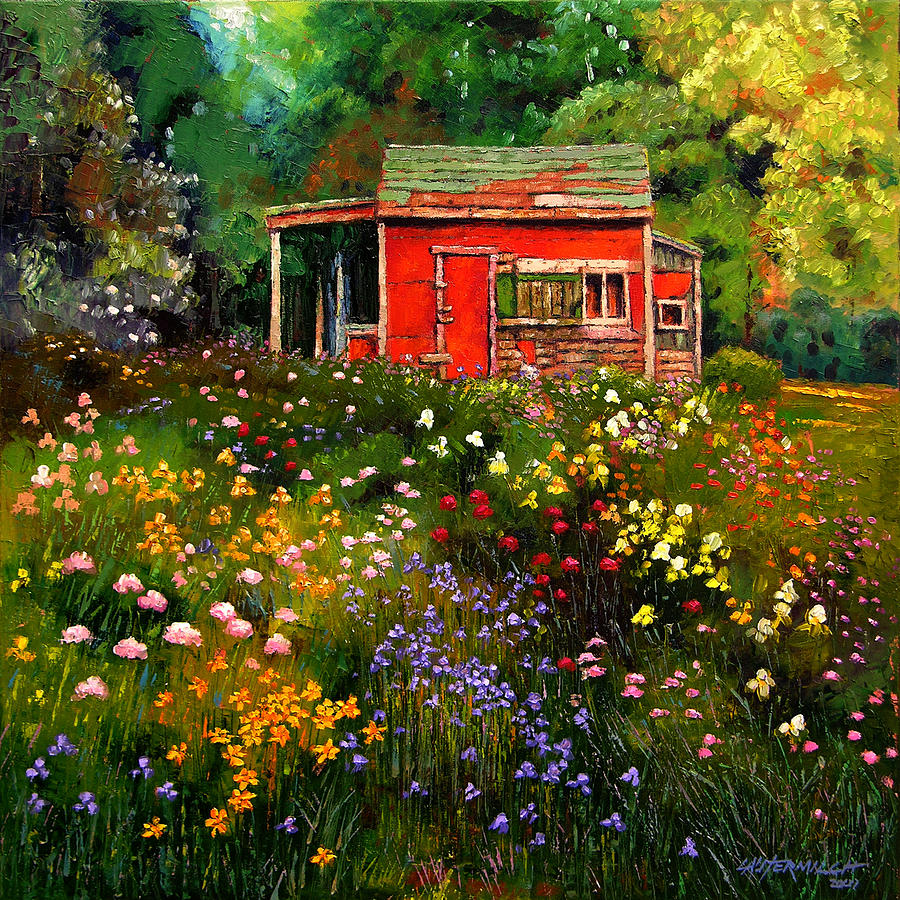 Flower Garden Painting - Little Red Flower Shed by John Lautermilch