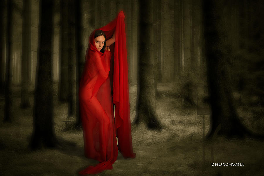 Red In Woods Digital Art - Little Red In Woods by Thomas Churchwell