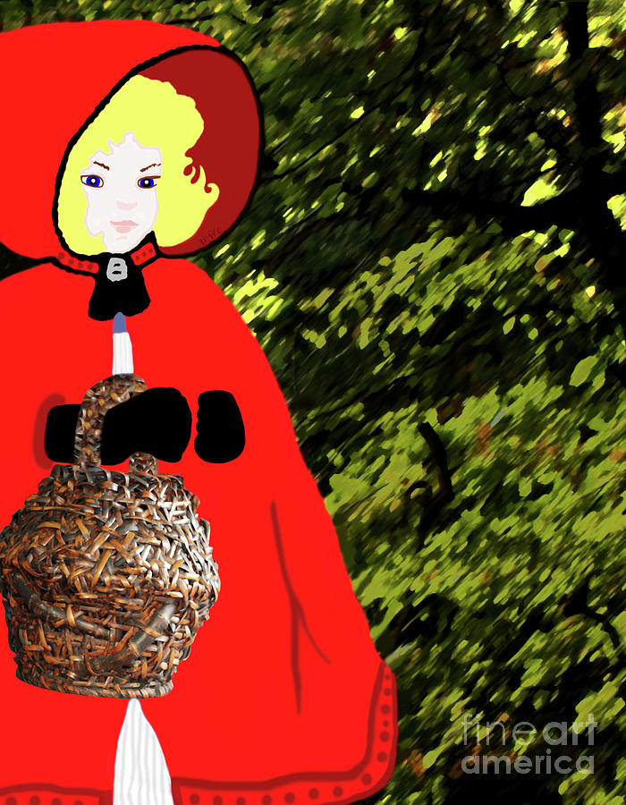 Little Red Riding Hood Painting - Little Red Riding Hood In The Forest by Marian Cates