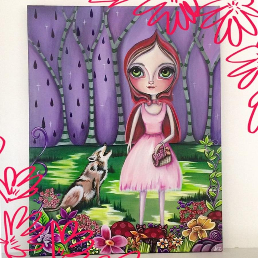 Whimsical Photograph - little Red Riding Hood Painting by Jaz Higgins
