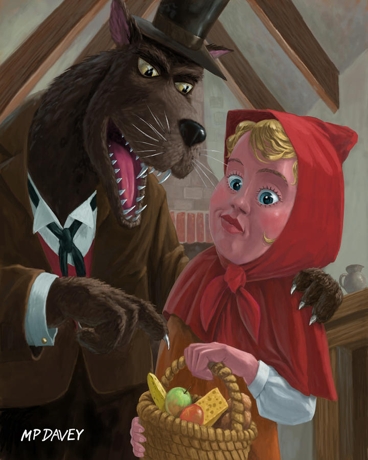 Nursery Painting - Little Red Riding Hood With Nasty Wolf by Martin Davey