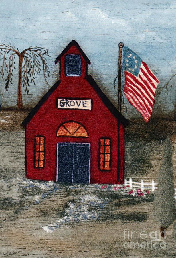 Flowers Mixed Media - Little Red Schoolhouse by Writermore Arts
