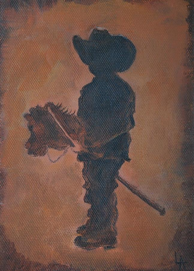 Rust Painting - Little Rider by Leslie Allen
