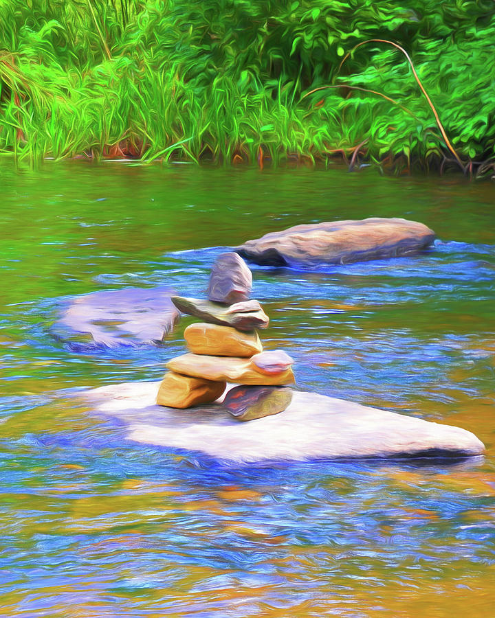 Little River Cairn by Ginger Wakem