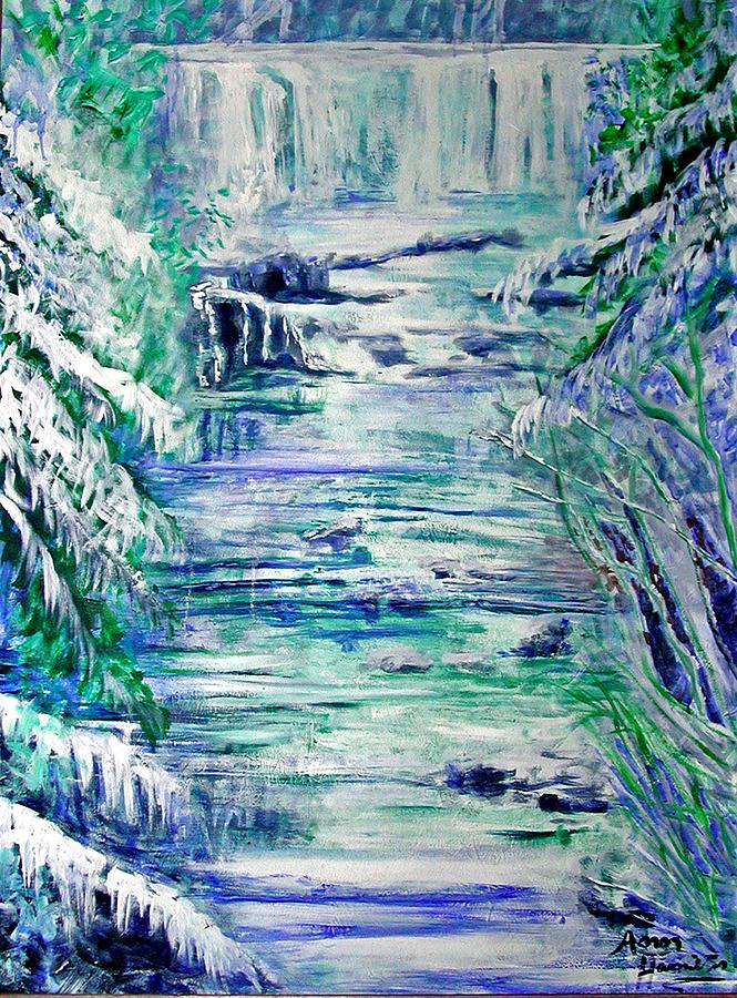 Little River Canyon Painting - Little River Canyon Ice Storm by Anne Hamilton