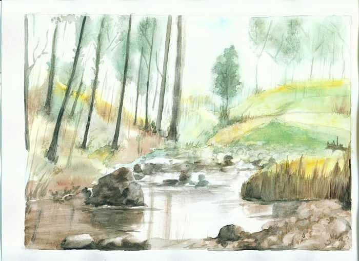 River Painting - Little river by Mousumi Mani