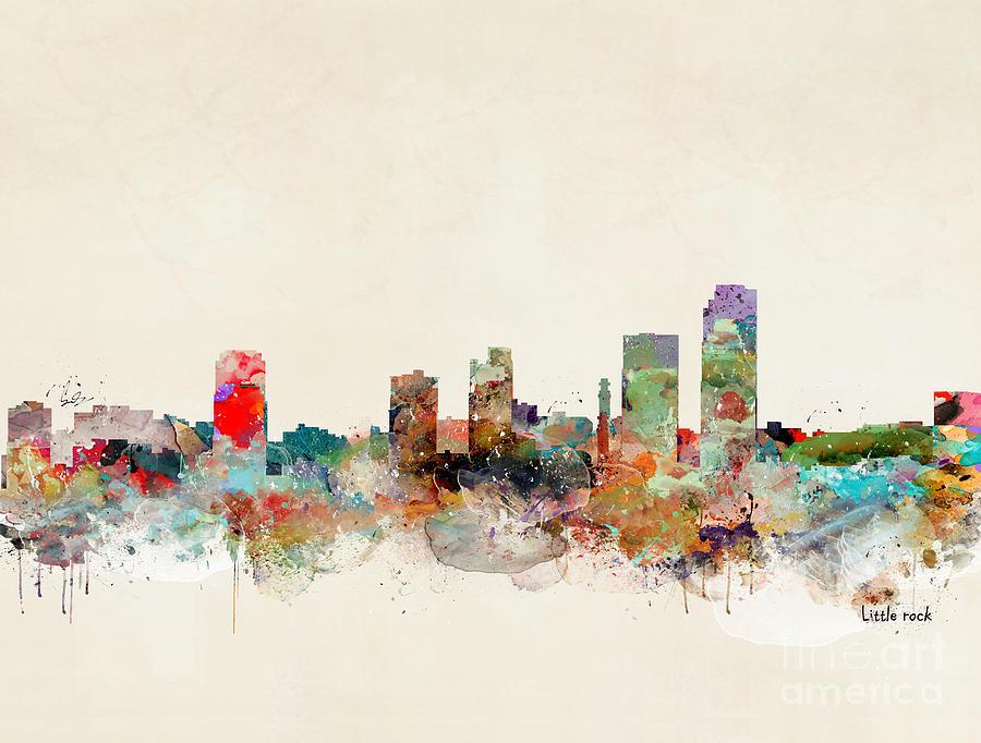 Little Rock Skyline Painting - Little Rock Arkansas by Bri Buckley