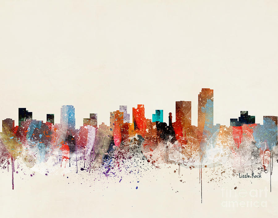 Little Rock Arkansas Painting - Little Rock Skyline by Bri Buckley