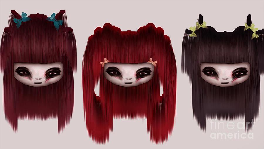 Girl Painting - Little Scary Dolls by Joanna Kireli