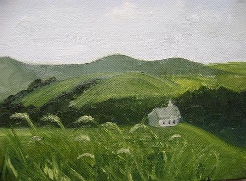 Landscape Painting - Little Schoolhouse On The Hill by Toni Berry