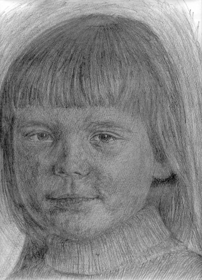Girl Drawing - Little Sister 1 by Sami Tiainen