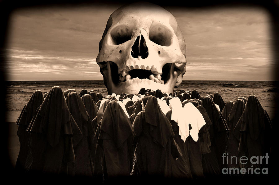Human Skull Photograph - Little Sisters Of The Divine Skull by Wayne Higgs