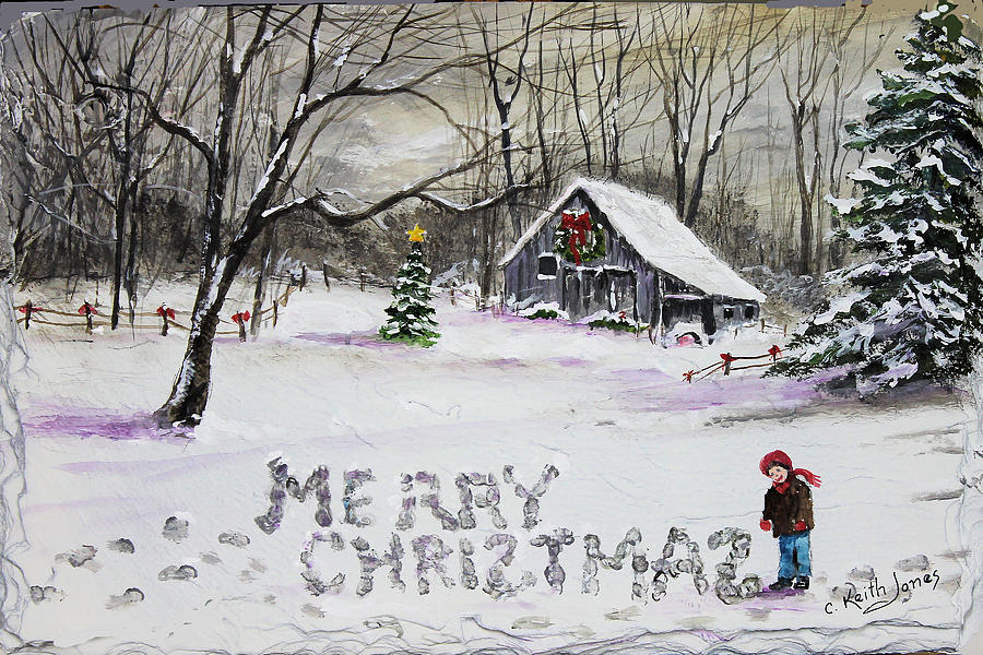 Merry Christmas Painting - Little Snow Writer by C Keith Jones