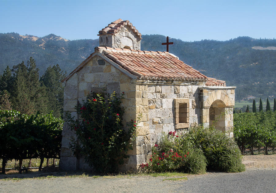 Chapel Photograph - Little Stone Chapel In Vineyards Of Napa Valley by Anne Branson