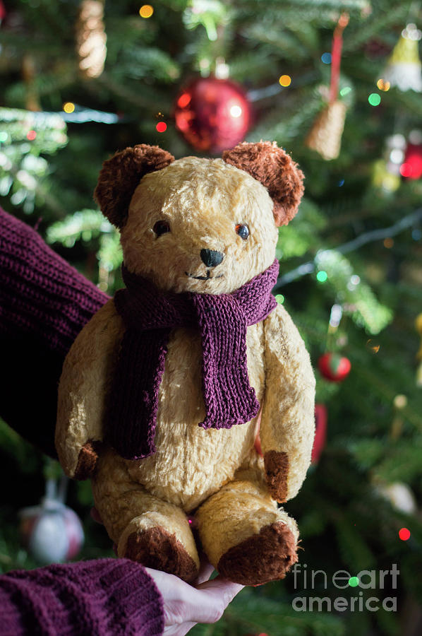 Hand Knitted Teddy Bear Christmas Tree Decoration Red