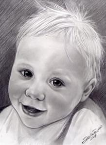 Boy Drawing - Little Toddler Boy Pencil Portrait Drawn From Photo by Darla Dixon
