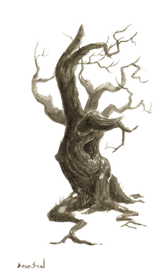Old Tree Painting - Little Tree 78 by Sean Seal