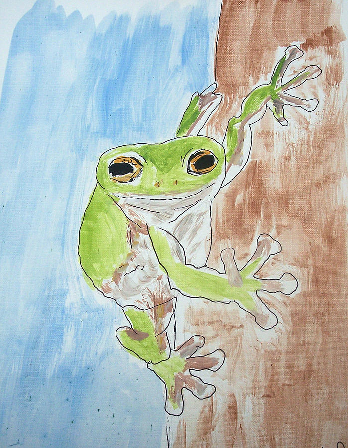 Frog Painting - Little Tree Frog by Jennifer Coleman