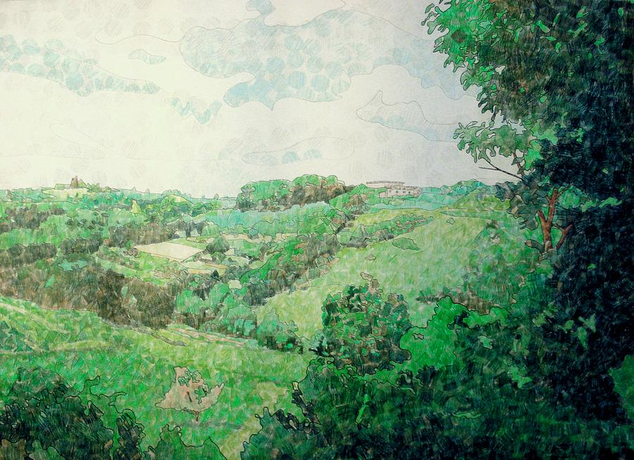 Italy Drawing - Little Tuscan Valley by Jason Charles Allen
