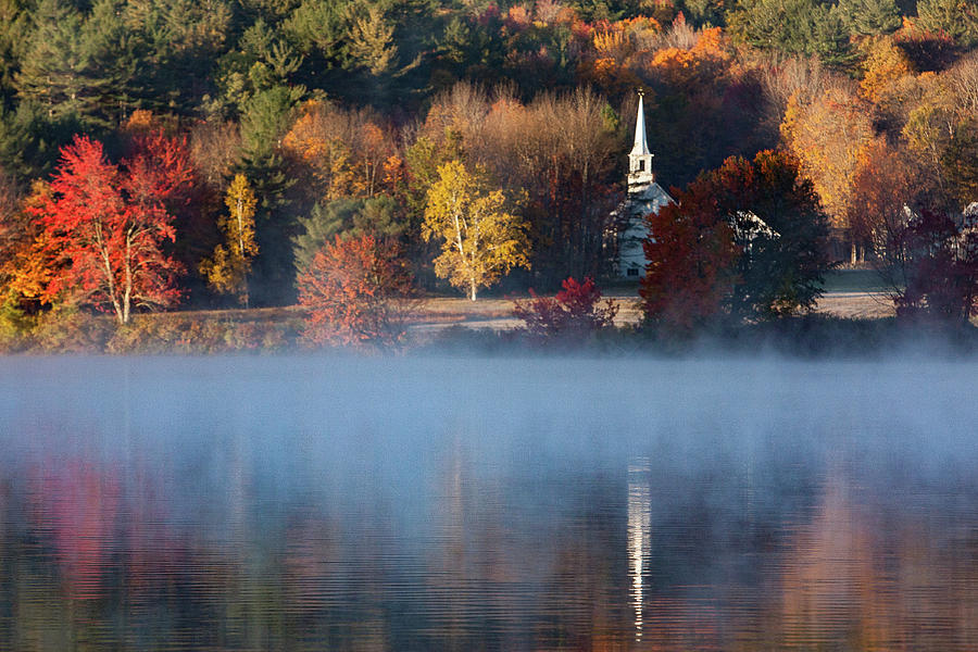 Autumn Foliage Photograph - Little White Church On Crystal Lake by Jeff Folger