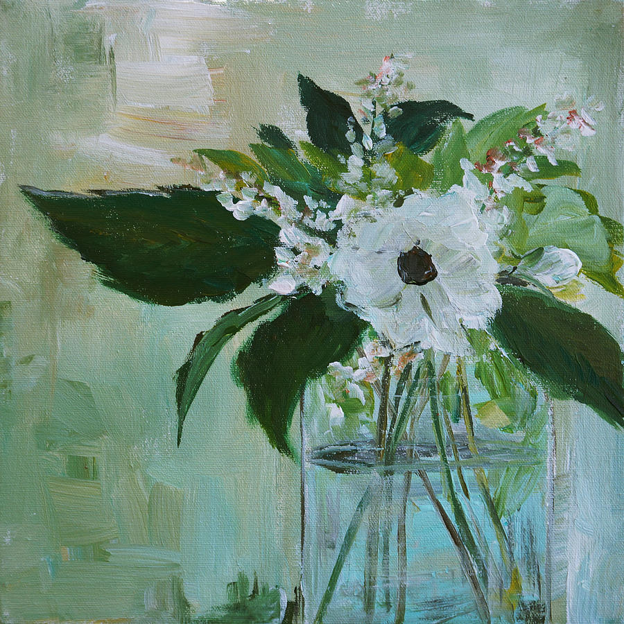 Little White Flower Painting By Wendy Davis Hogan