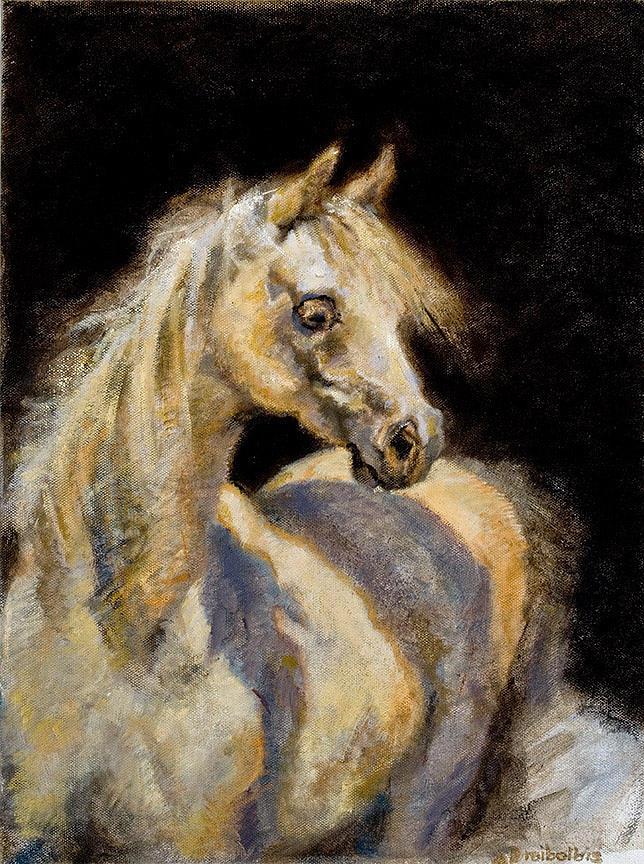 Horse Painting - Little White Mare by Ellen Dreibelbis