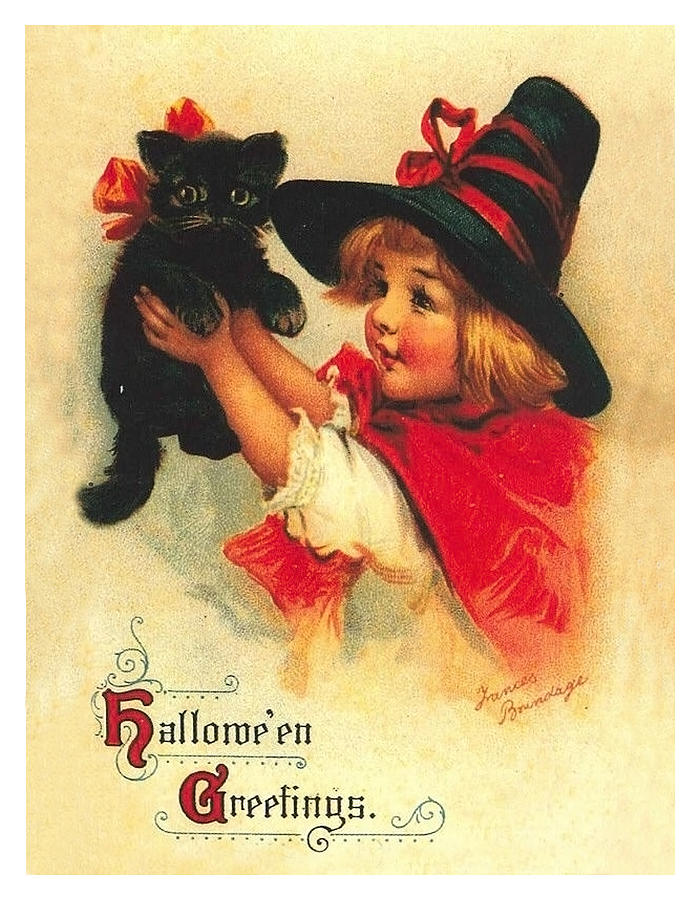 Little Witch Mixed Media - Little Witch Girl With Black Cat by Long Shot