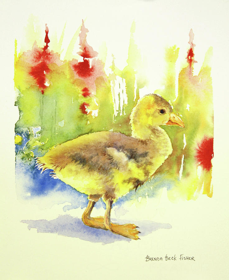 Duck Painting - Little Yellow Duck by Brenda Beck Fisher