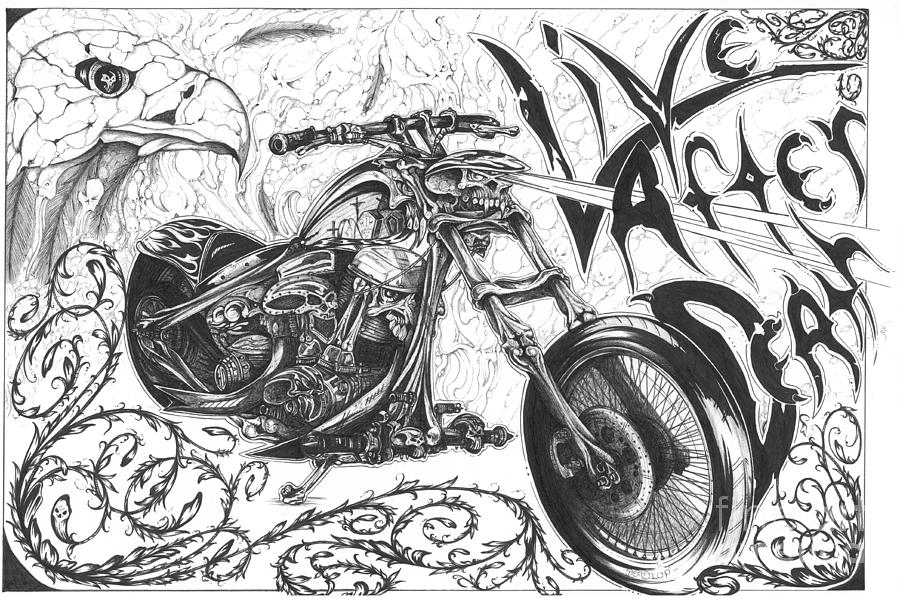 Harley Davidson Drawing Drawing - Live After Death by Derek Hayes
