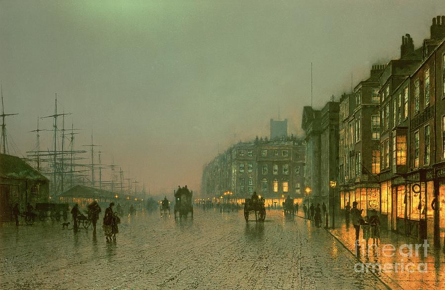 Port Painting - Liverpool Docks From Wapping by John Atkinson Grimshaw