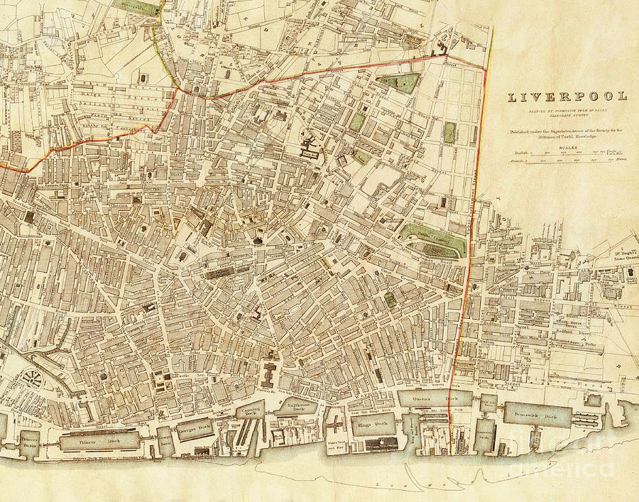 Map Of England Vintage.Liverpool England Vintage City Map Photograph By Elite Image