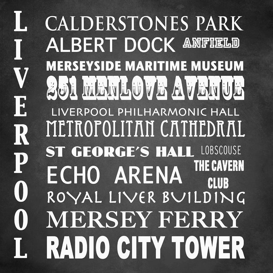 Liverpool Digital Art - Liverpool Famous Landmarks by Patricia Lintner