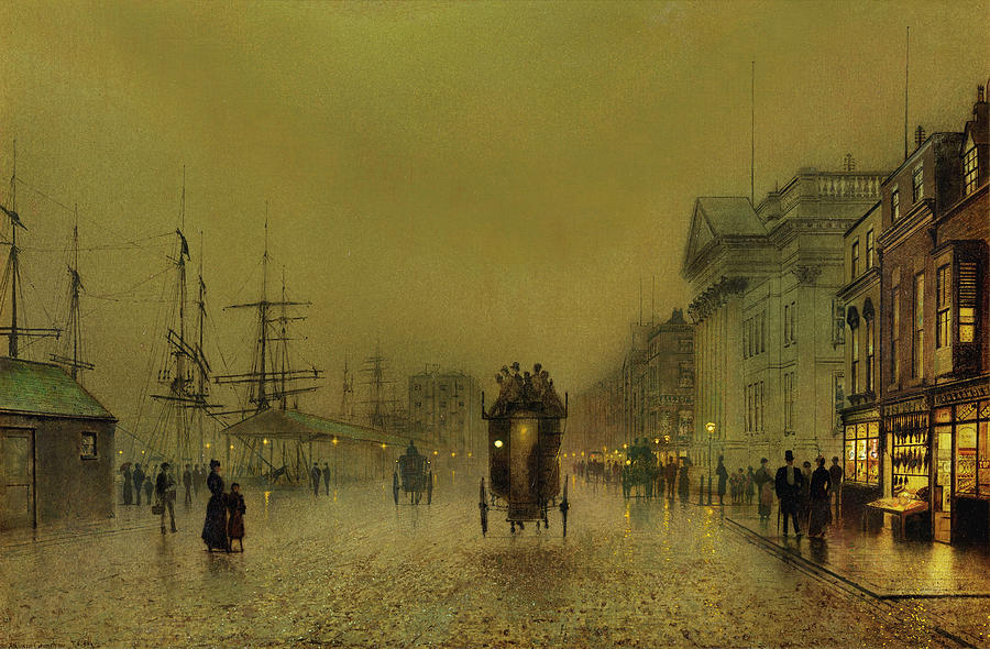 Salthouse Painting - Liverpool lights, Salthouse  by John Atkinson Grimshaw