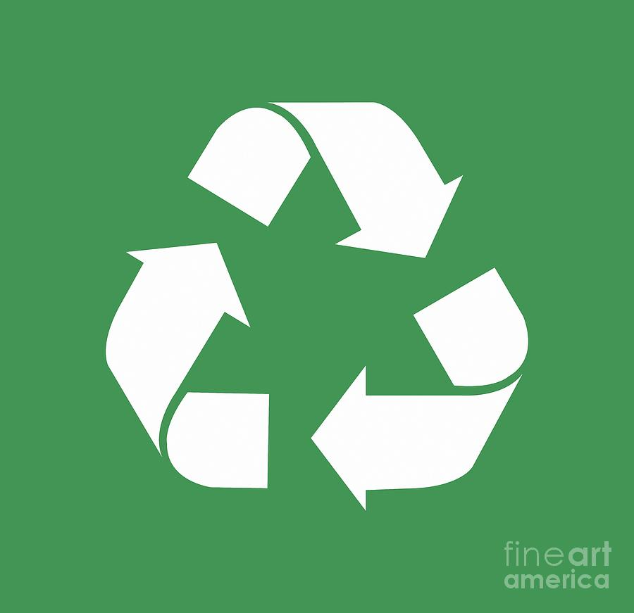 Living Green White Reduce Reuse Recycle Repurpose Drawing By
