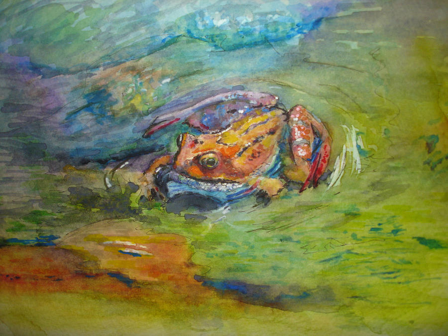 Frog Painting - Living Rainbow by Kerra Lindsey