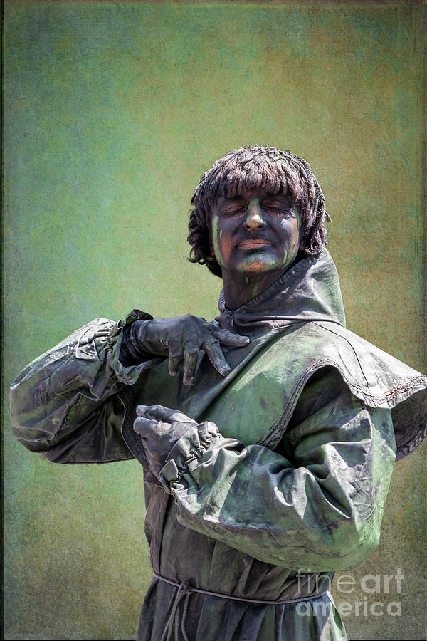 Living Statue In Green Photograph