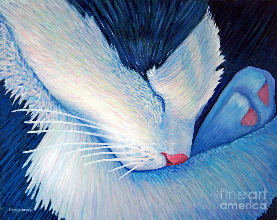 Cat Painting - Living The Dream by Brian  Commerford