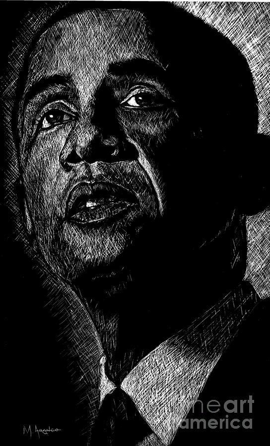 Barack Obama Drawing - Living The Dream by Maria Arango