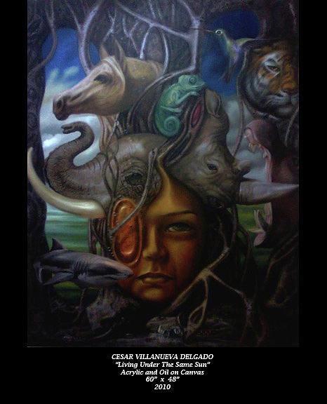 Cesar Painting - Living Under The Same Sun by Cesar Delgado