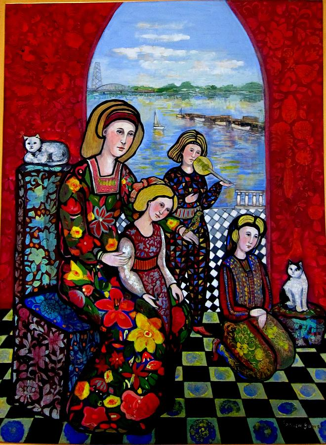 Medieval Painting - Liz Combing Madeline In Portsmouth by Marilene Sawaf