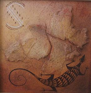 Glyphs Painting - Lizard  11.5 X 11.5 by David  McKee