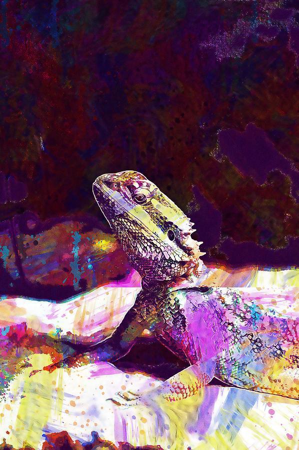 Lizard Pet Dragon Bearded by PixBreak Art