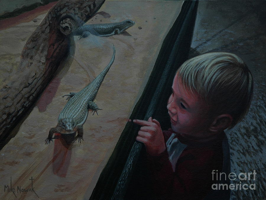 Lizards Painting - Lizards At The Zoo by Michael Nowak