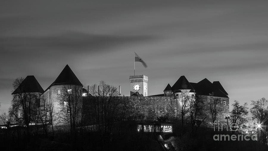 Ljubljana Photograph - Ljubljana Castle In Black And White by Vyacheslav Isaev