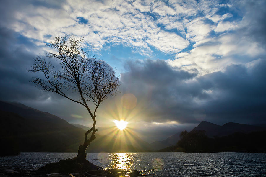 Clouds Photograph - Llyn Padarn Sunburst by Andy Beattie Photography
