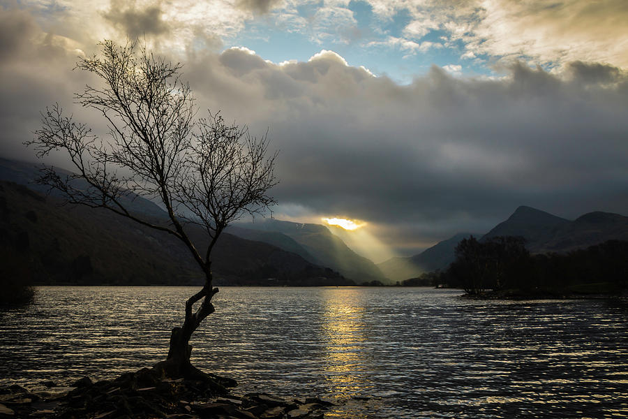 Clouds Photograph - Llyn Padarn Sunrays by Andy Beattie Photography