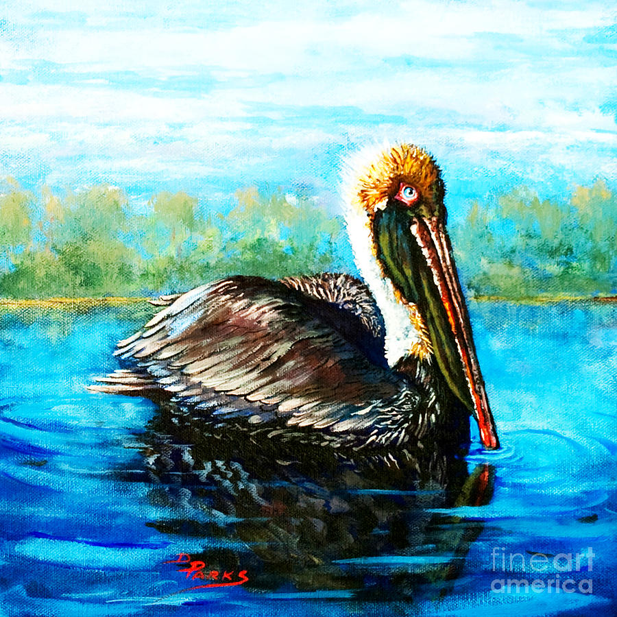 Louisiana Brown Pelican Painting - Lobservateur by Dianne Parks